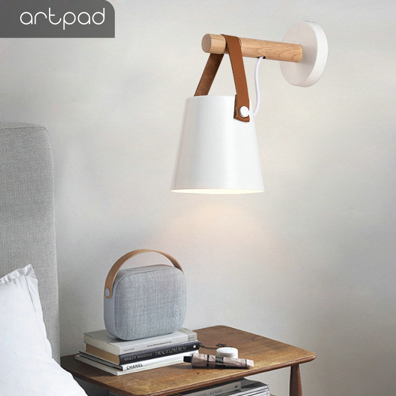 Artpad Nordic Wall lamp Bedside Lamp Black White Metal Sconces E27 LED Modern Corridor Wall Lights for Home Living Dining Room in LED Indoor Wall Lamps from Lights Lighting