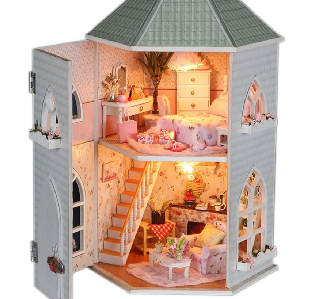 Free Shipping  new DIY dollhouse 3D Miniatures Furniture Handmade large wooden model house luxury loft love fortress