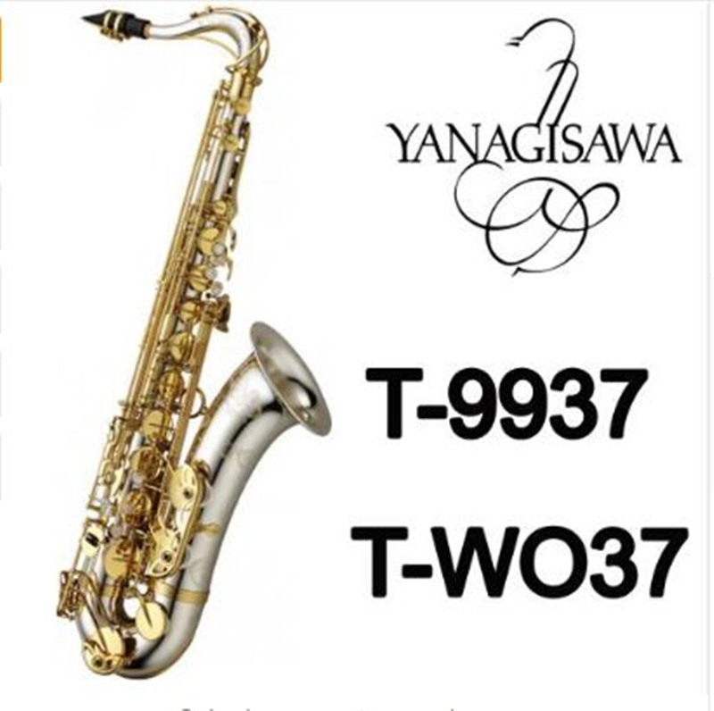 Musical Instruments yanagisawa T-WO37 Tenor Saxophone Bb Tone Nickel Silver Plated Tube Gold Key Sax With Case Mouthpiece Gloves pair of retro rhinestone faux pearl petal shape earrings for women