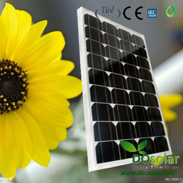DHL Free Shipping--50W 18V high efficiency MONO Solar Panel, PV module manufacturer in China in stock