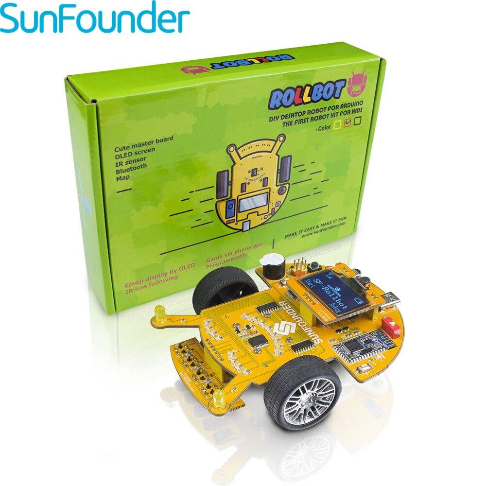 Kit de robot à monter soi-même éducatif d'apprentissage de la tige sunfondateur sf-rollbot basé sur un bloc langue de programmation visuelle graphique pour Arduino
