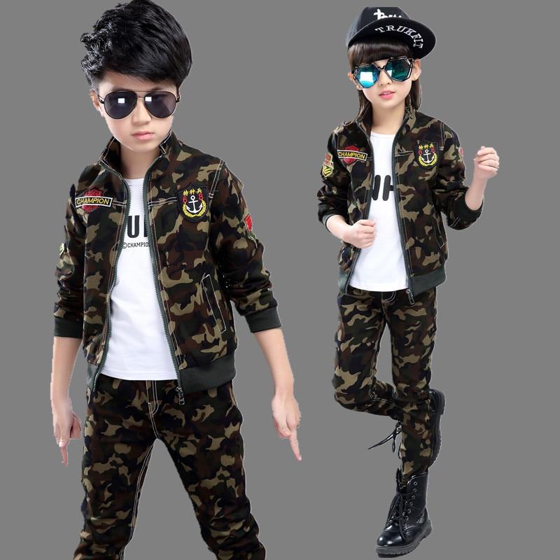 ФОТО 2017 girls clothing boys clothing child spring autumn sets camouflage sports sets 100% cotton long sleeve+pant kids boy sets
