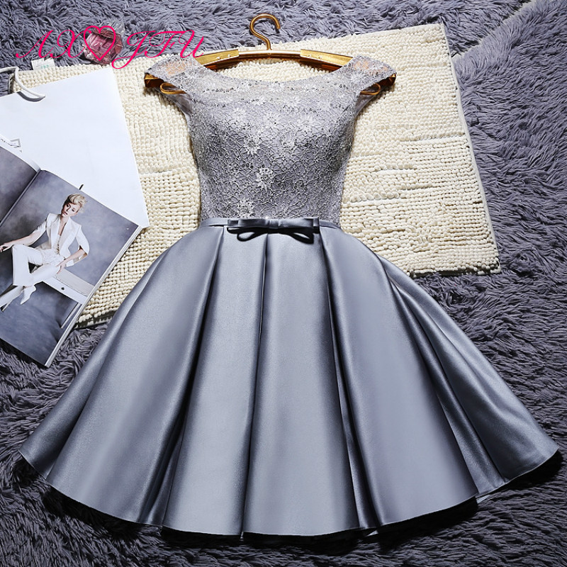 AXJFU Short red lace evening Dresses grey flower customize Ruffles lace up bow evening Dresses little