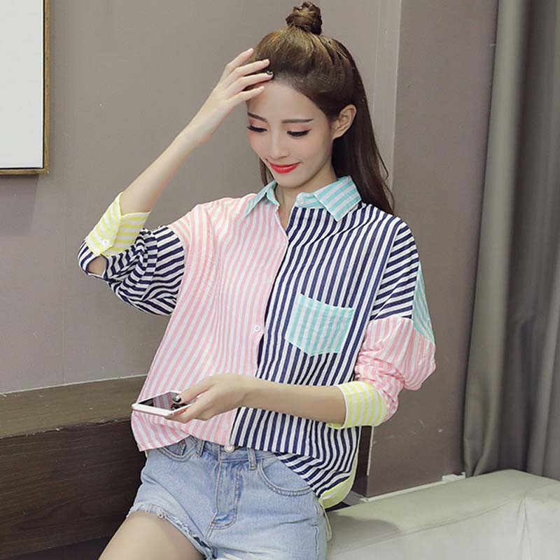 Fashion Women Blouses 2019 Spring New Loose Long Sleeve Striped Patchwork Tops Summer Women Color matching Blouses Shirts WIN854