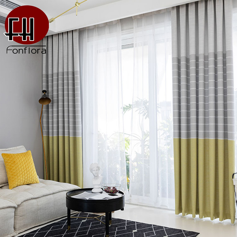 Modern Blackout Curtains For Living Room Striped Grey Curtains For Bedroom Kitchen  Window Treatments Custom Blinds Single Panel