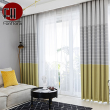 Modern Blackout Curtains For Living Room Striped Grey Bedroom Kitchen  Window Treatments Custom Blinds Single Panel