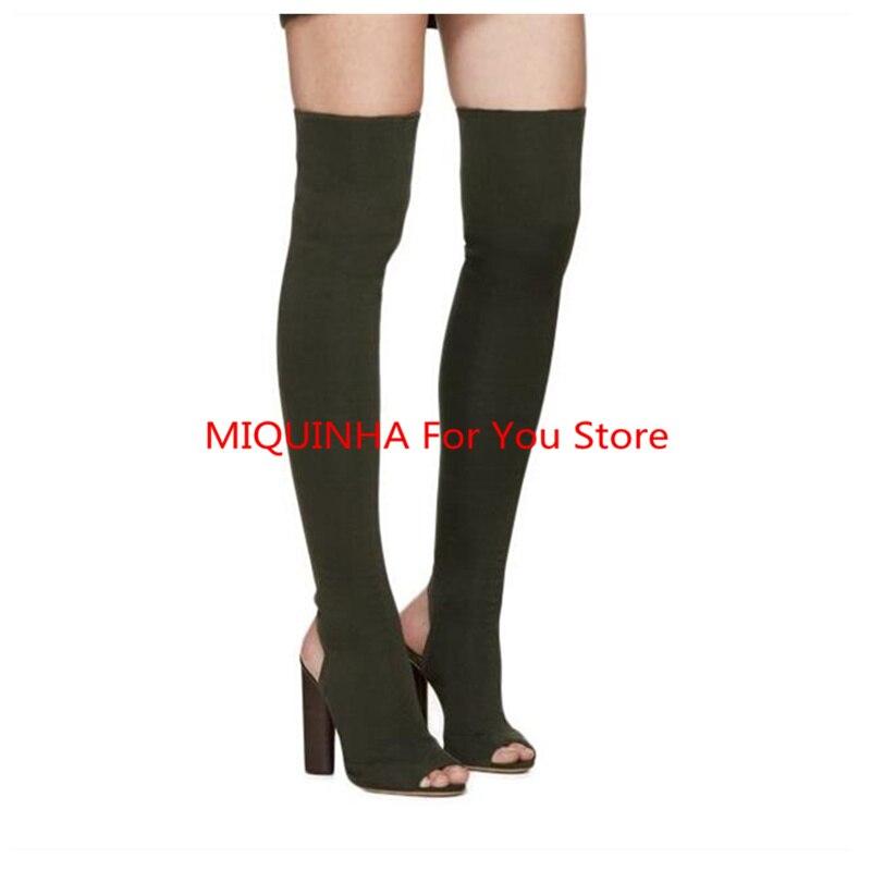 Peep Toe Stretch Fabric Women Boots Sexy High Heel Luxury Brand Women Long Booties Runway Super Star Shoes Fall Chaussures Femme