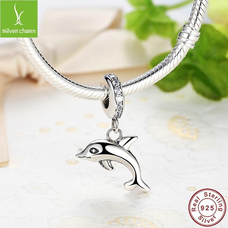 Authentic Silver Charm Sterling Dangle ludique Dauphin Pour Charm Bracelets
