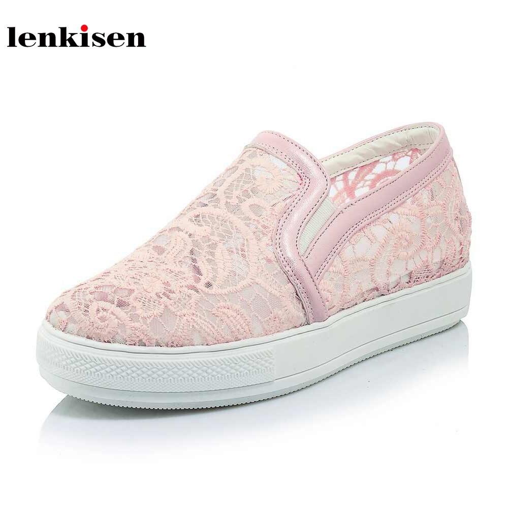 Lenkisen 2018 round toe slip on mesh breathable loafers causal shoes med heel handmade fashion runway women vulcanized shoes L03