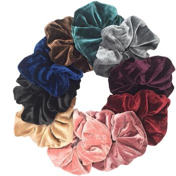 10pcs/lot Women's winter velvet PU hair Scrunchies leopard Hair Tie Accessories Ponytail Holder large and small size - discount item  20% OFF Headwear
