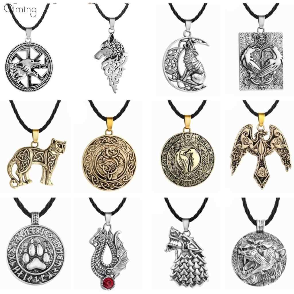 10pcs/lot Nordic Kolovrat Slavic Necklace Wholesale Men Bronze Wolf Animal Charm Amulets Viking Jewelry Women Statement Necklace