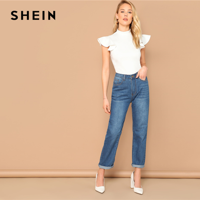 SHEIN Elegant White Mock Neck Ruffle Armhole Slim Fitted Skinny Bodysuit Women Summer Butterfly Sleeve Office Lady Bodysuits