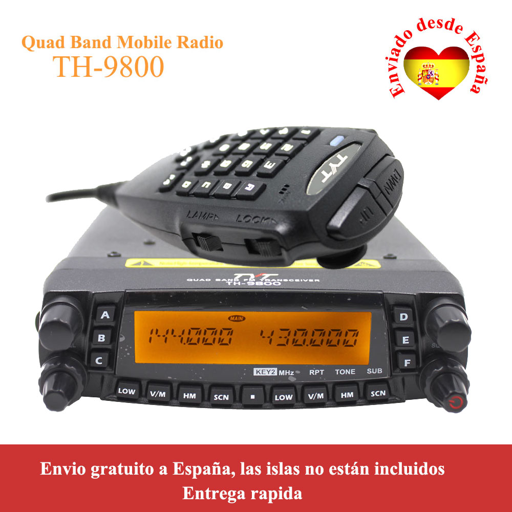 Latest Version TYT TH-9800 50W Quad Band 29/50/144/430MHz Woki Toki 2-Tone/5-Tone Mobile Transceiver