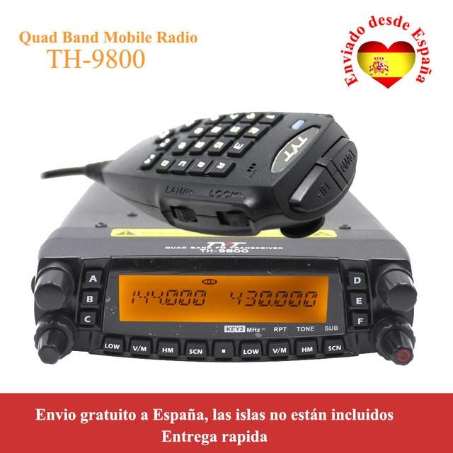 Latest version TYT TH 9800 50W Quad Band 29/50/144/430MHz woki toki 2 Tone/5 Tone Mobile Transceiver