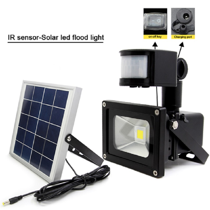 IP65 ! 20W COB LED Flood Light IP65 Motion Sensor Outdoor Garden Yard Street Path Landscape 5W Solar Panel Power Emergency lamp