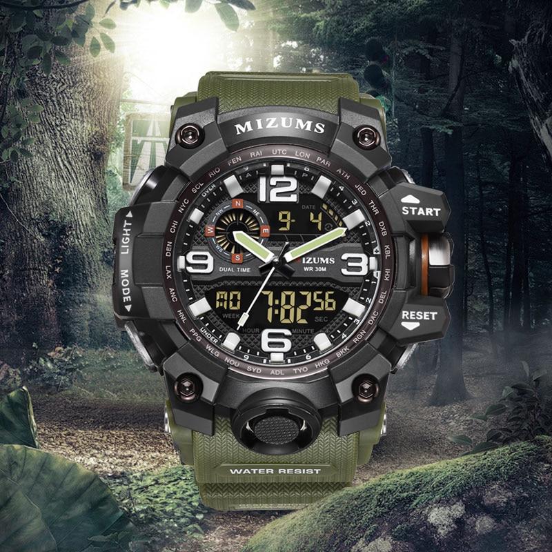MIZUMS Sports Watches Clock Military Outdoor Mens Quartz Digital Waterproof LED Analog