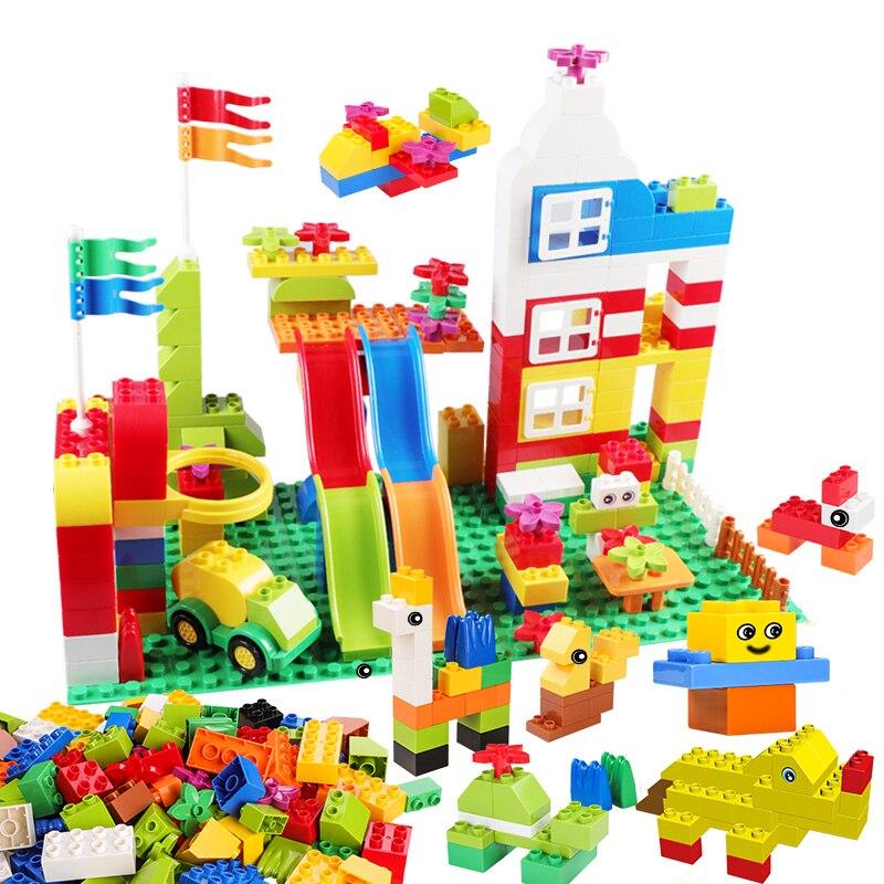Big Building Blocks Gift Instruction Sticker Colorful Bricks With Figure Pipe Blocks DIY Toy For Children Compatible Duploed big bricks building blocks base plate 51 25 5cm 32 16 dots baseplate diy bricks toy compatible with major brand blocks