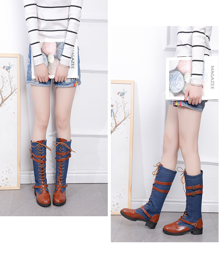 48b022f83c132 Knee High Boots Autumn Leather Boots Flat Lace Up Shoes Fashion sex Female  Shoes Black Blue Casual Boots botas UPE244