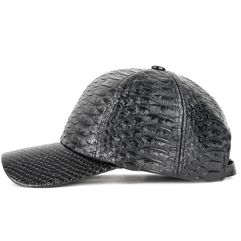 Newest Crocodile Leather Man Cap Solid Black Baseball Caps Women Outdoor Casual Brand Spring and Autumn Dad Hat 2019 Fashionable in Men 39 s Baseball Caps from Apparel Accessories