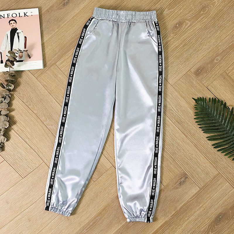 Thin Pants Ribbon Highlight Harajuku Joggers Slim-Fit Satin Big-Pocket Loose Glossy Summer