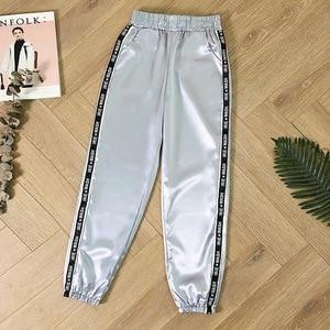 Womens Summer Satin Highlight Glossy Thin Pants New Loose Slim Fit Ribbon Fashion Harajuku Joggers Sports Pants with Big Pocket(China)