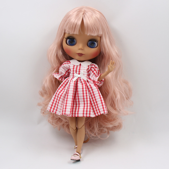 ICY factory blyth doll dark skin joint body new matte face pink curly hair DIY sd gift toy