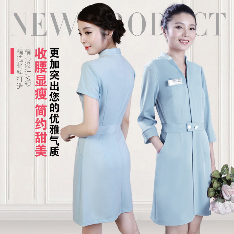 New Arrival Slim Fit V-neck Nurse Dress Uniform Medical Scrub Dress Beauty Salon Workwear Overalls Beautician Clothes Suits