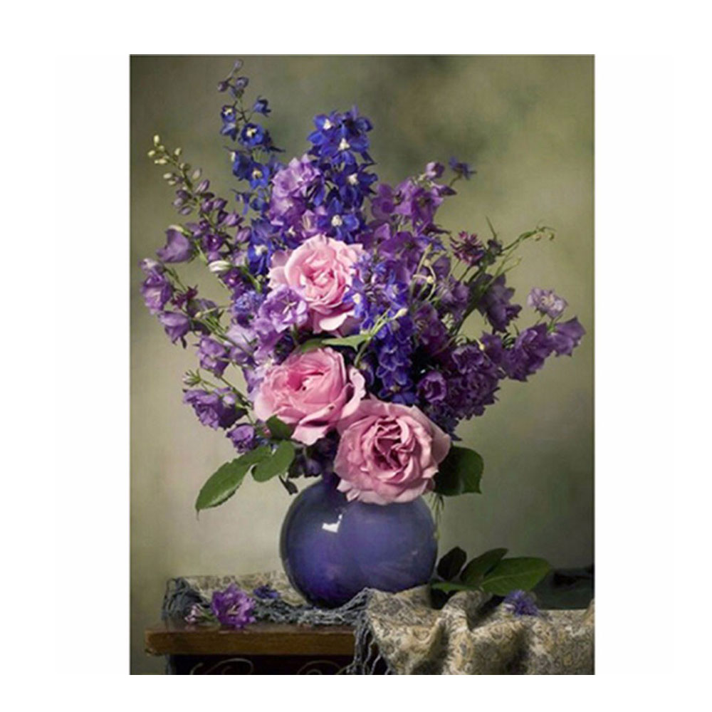 ᗕlilac Flowers Diamond Embroidery Painting Pink Rose Cross Stitch