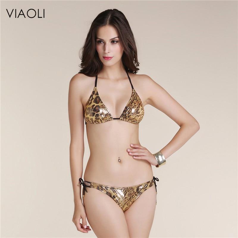 VIAOLI 2018 Shiny Animal Print Gold Foil Swimwear Push Up Style Sexy Women Bikini Leopard Swimsuits String String Bikini Thong