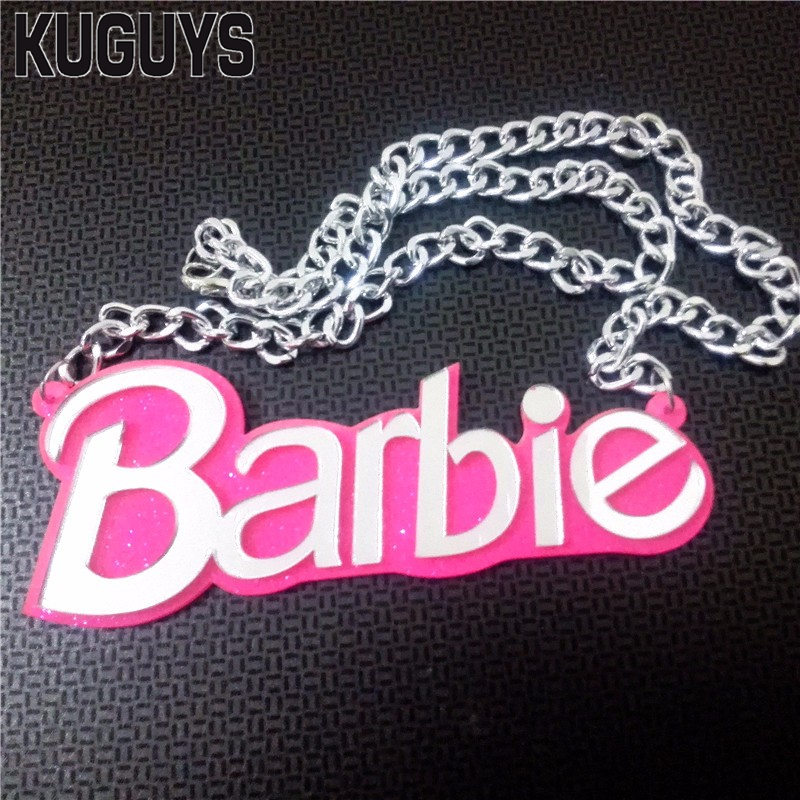 KUGUYS Acrylic Pink BARBIE Pendant Necklaces for Women Fashion Jewelry Silver Link Chain Trendy Necklace Gift Woman Accessories
