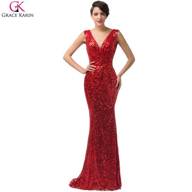 Evening Dress Grace Karin 2016 Red Mermaid Evening Dresses Long 2017 Sexy Gold Sequin Dress Luxury Mermaid Evening Gowns 6052