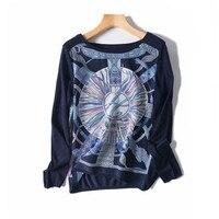 silk spliced women fashion printed t shirt pullover Oneck tees full sleeve dark blue M/L retail mix bulk whole sale