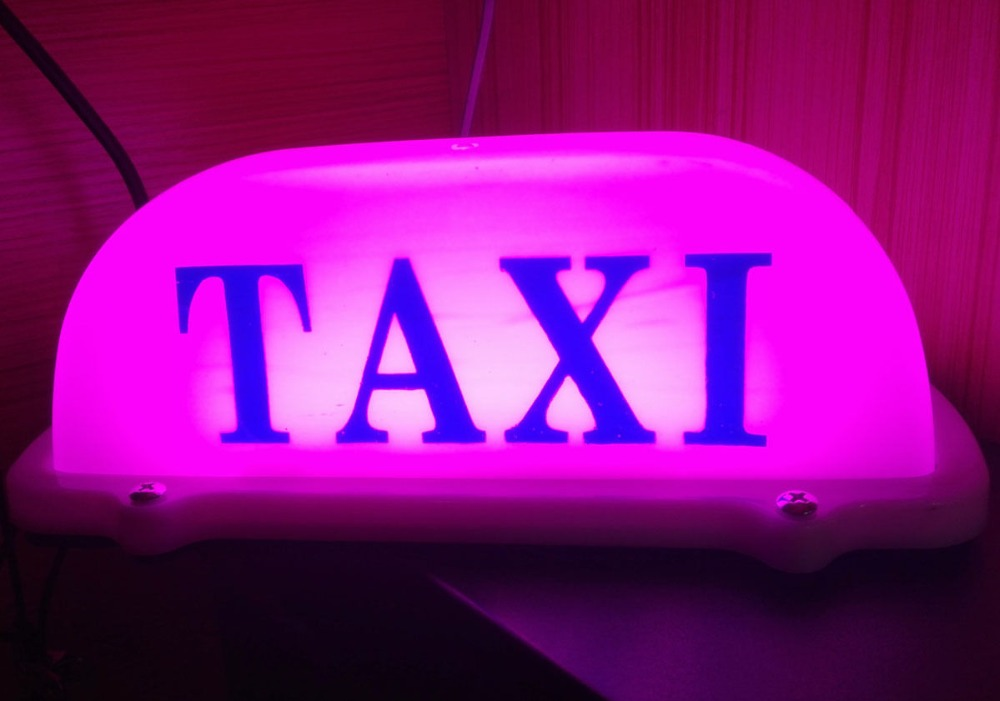 10.5 Lovely Pink Taxi Logo Cab Driver Car top Sign Waterproof LED Light DC 12V Magnet Car Taxi Roof Sign Light car styling Lamp wholesale taxi led light auto indicator lamp vehicles car windscreen cab sign white led taxi lamp 12v car styling free shipping
