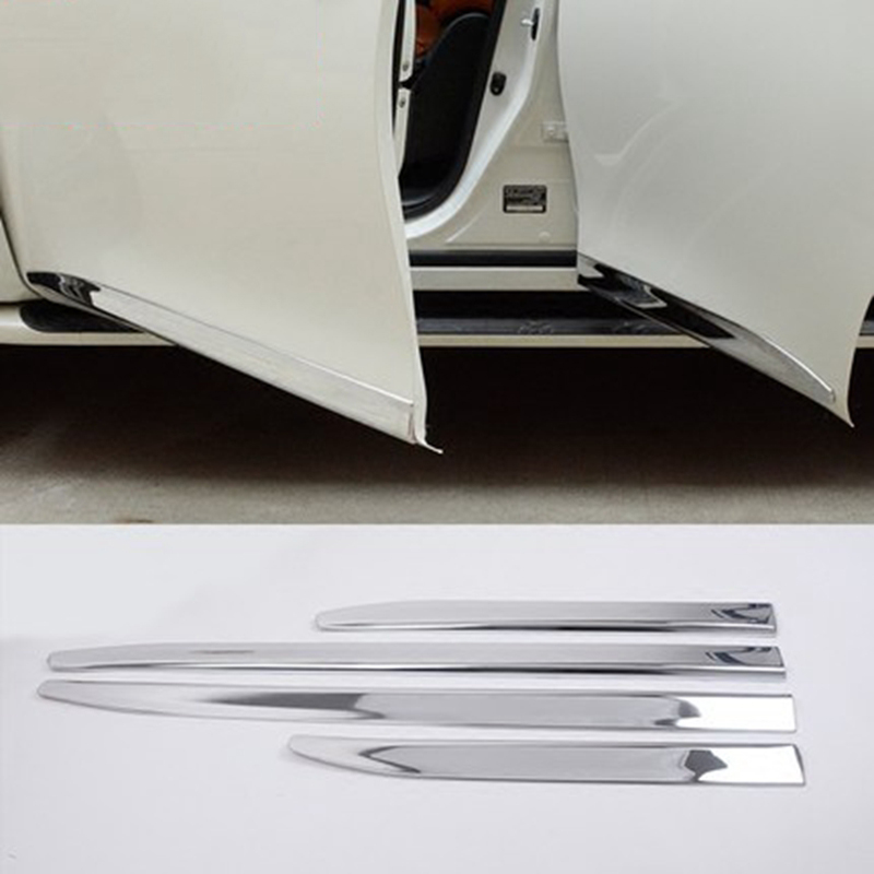 For Nissan PATROL Y62 2010-2018 Infiniti QX56 QX80 ABS Chrome Side Door Body Mouldings Protection Liner Garnish Cover Trims 4Pcs car styling abs chrome door body mouldings protection liner garnish covers strip 4pcs for toyota land cruiser lc200 2008 2017