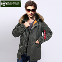 Seibertron slim N3B park jacket men N 3B winter Vintage 70's USAF N3 B Flying Parka Jacket Heavy Snorkel Hood Sage