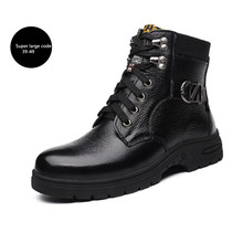 Men's shoes Winter new leather boots Super large code 45-49 With velvet Keep warm The snow High help Army boots