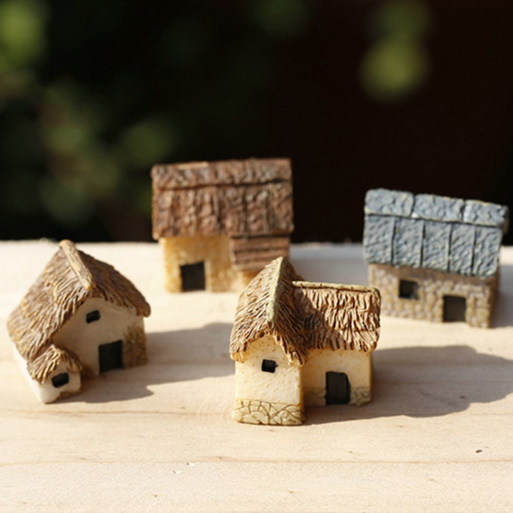 1 pcs Artificial Mini House Miniature Resin Craft Ornament Miniature Home Garden Decoration Accessories Random Color