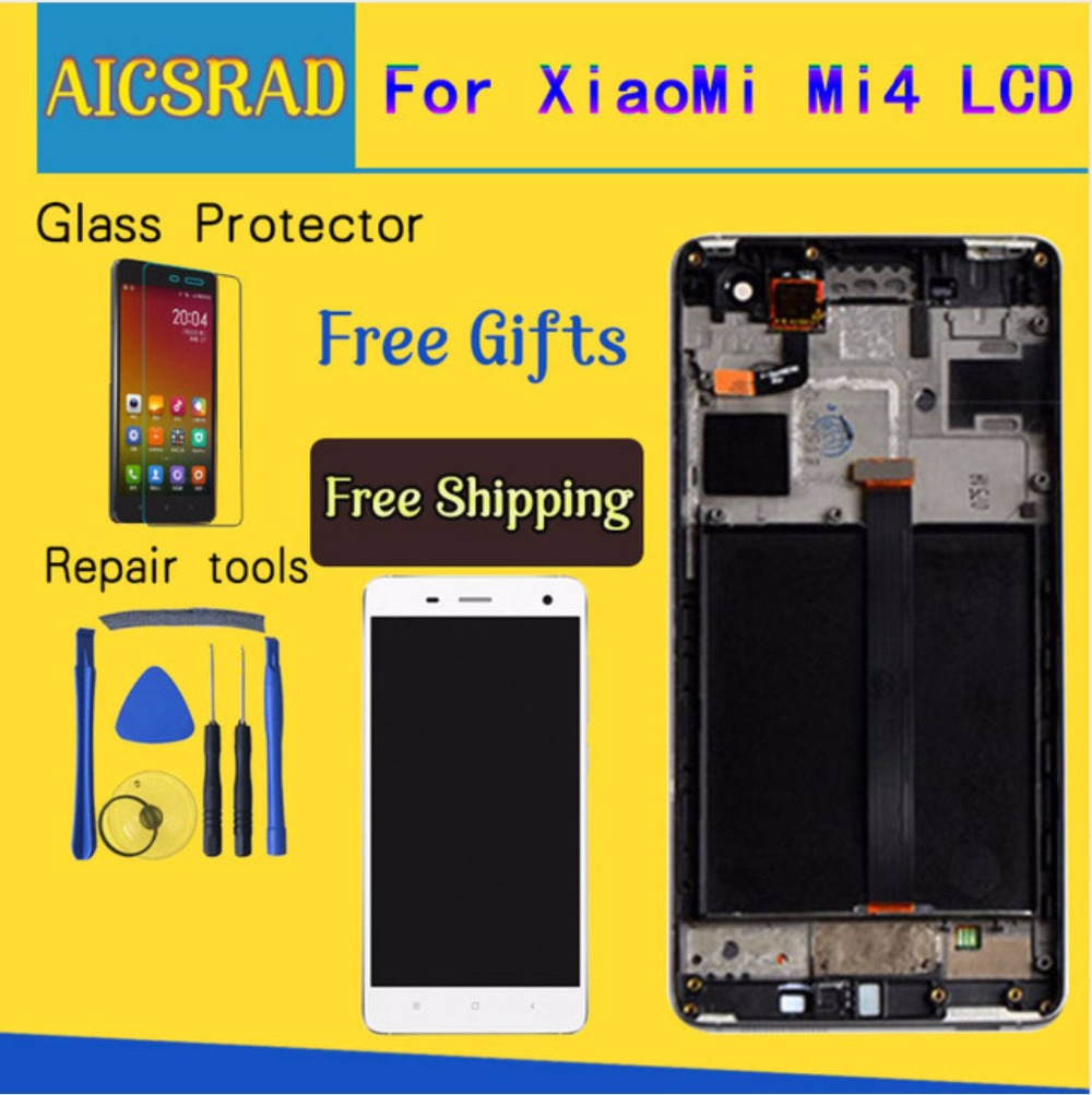 Q&Y QYJOY Touch Screen Glass And LCD Display Digitizer Assembly For Xiaomi Mi4 M4 Smart Phone White/Black Color with frame