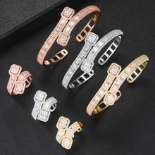 GODKI Korea Trendy Arabia bransoletka zestaw pierścieni komplet biżuterii damskiej ślub Cubic cyrkon kryształ CZ aretes de mujer modernos 2019