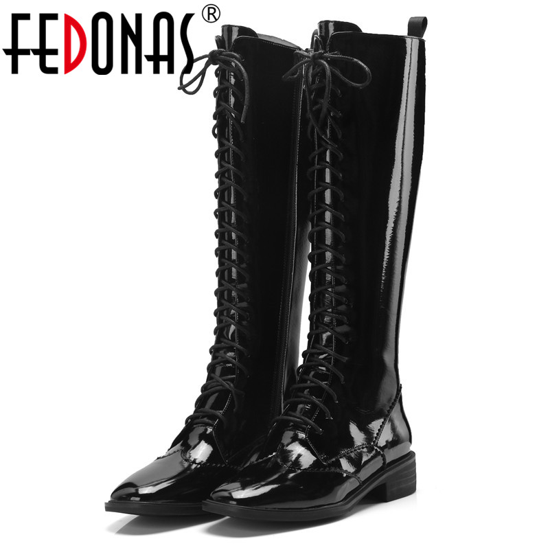 FEDONAS Fashon New Brand Patent Leather Knee High Boots High Heels Lace Up Motorcycle Boots Female Long Winter Shoes Woman FEDONAS Fashon New Brand Patent Leather Knee High Boots High Heels Lace Up Motorcycle Boots Female Long Winter Shoes Woman