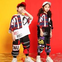 Дети концерт Толстовка Футболка Танцы в стиле «хип-хоп» Детские костюмы Костюмы состоит из топа с длинными рукавами костюмы для мальчиков и девочек костюмы для бальных танцев этап Танцы в уличном стиле