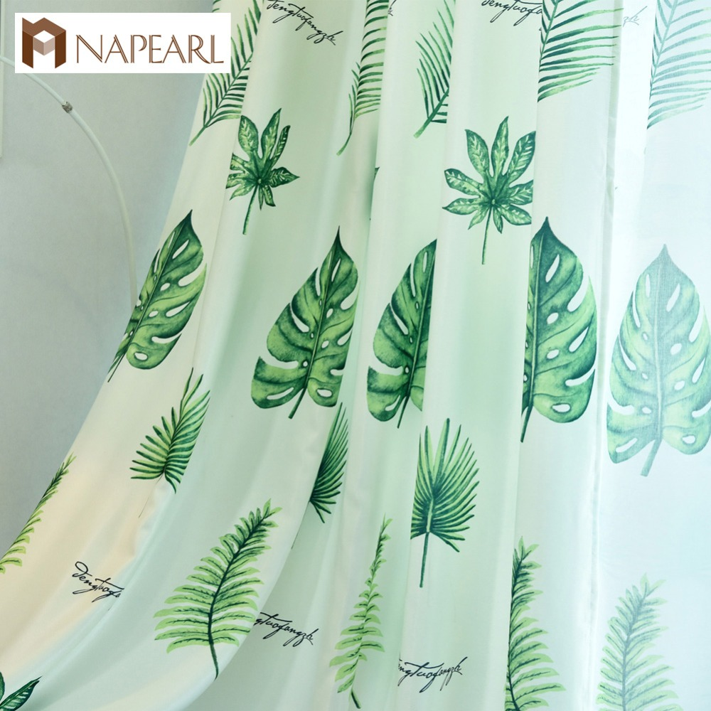 NAPEARL Modern Curtains Green Leaves Design For Living