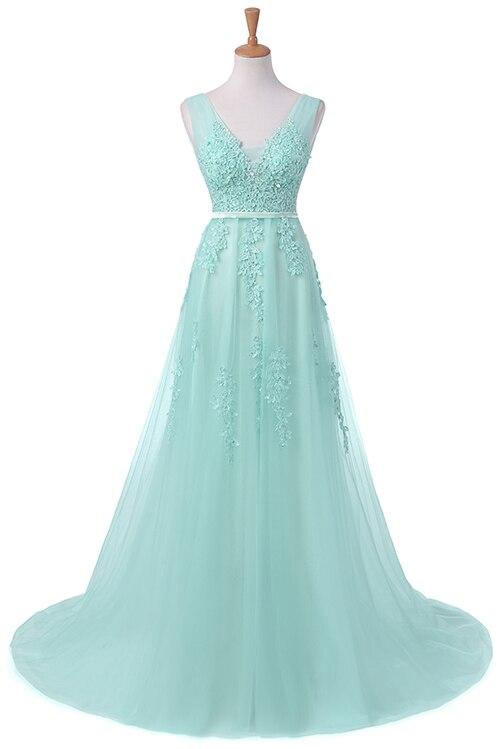 Robe De Soiree SSYFashion, кружевное, с бисером, сексуальное, с открытой спиной, длинное вечернее платье, для невесты, банкета, элегантное, длина до пола, для вечеринки, выпускного вечера - Цвет: 771 Mint green