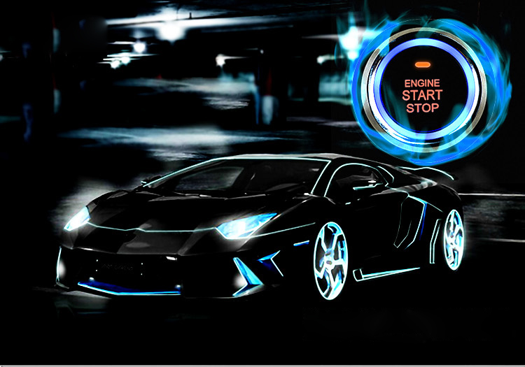 Universel 12 v LED Indicateur D'allumage Bouton Moteur De Voiture PKE Sécurité Pratique Keyless Entry System Push De Luxe Start Stop Bouton
