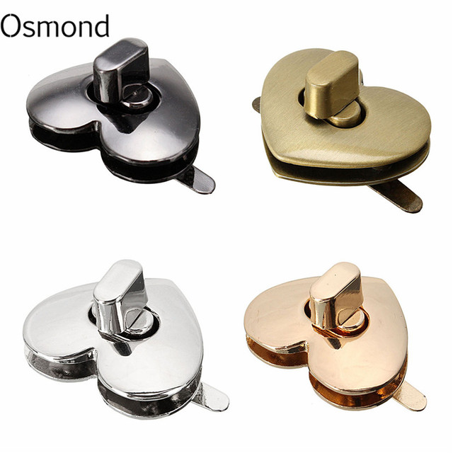 Metal Heart Shape Clasp Bronze Tone Trunk Lock Replacement Handbags Bag Diy Accessories For Purse Snap