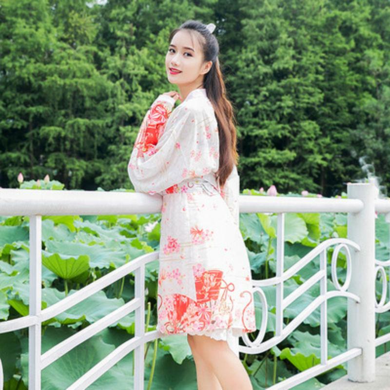 f3546ebeeeeca Women Japanese Kimono Tradition Style Sakura Yukata Cardigan Waist Belt  Kimono Vintage Cardigan Yukata Bathrobe For Females