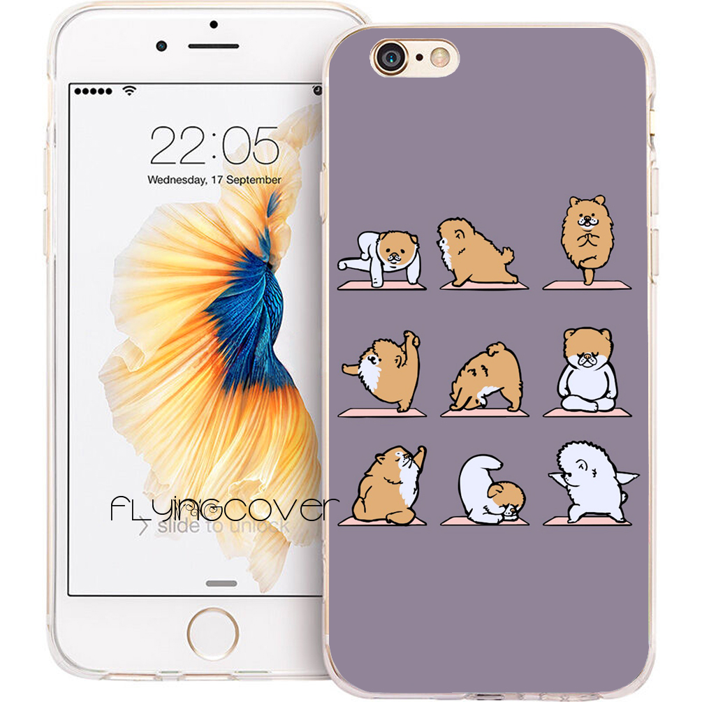 Coque Pomeranian Dog Yoga Capa Soft TPU Silicone Phone Cover for iPhone X 7 8 Plus 5S 5 SE 6 6S Plus 5C 4S iPod Touch 6 5 Case