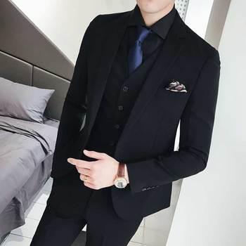 Custom Costume Homme Black Men Suits for Wedding Man Suits Blazers 3Piece Coat Pants Vest Slim Fit Terno Masculino Prom Party