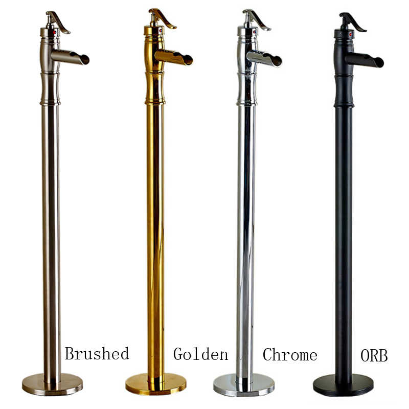 single lever freestanding clawfoot bathtub faucet set brass golden brushed nickel tub sink mixer taps waterfall spout