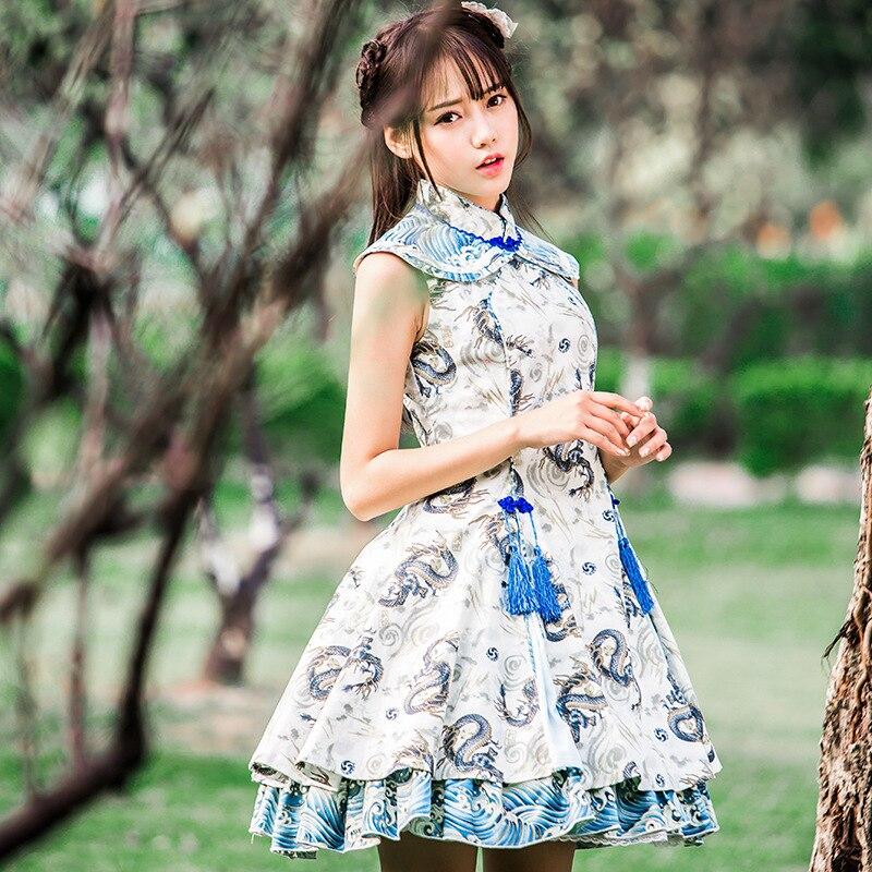 Kadın Giyim'ten Elbiseler'de Vintage Çin Qi Lolita Elbise Ejderha Oyun Su Baskılı Kolsuz Kısa Elbise'da  Grup 1